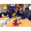 We hunted for clues and evidence in the text.