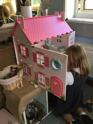 We turned the dolls house into the Three Bears' cottage.
