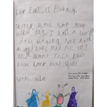 Aria's thank you letter to the Easter Bunny
