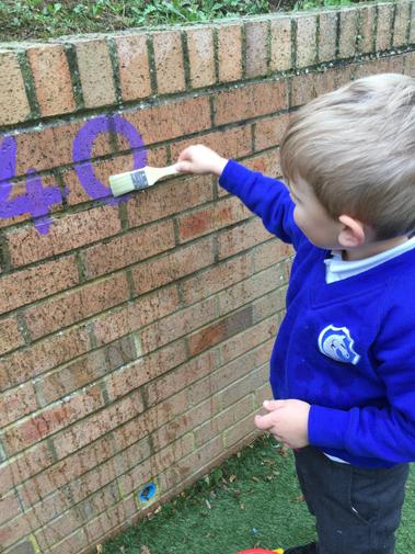 We used water to 'paint' numbers on the wall.