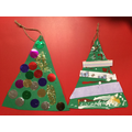 We made hanging Christmas tree cards.