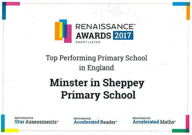 A huge well  done to all pupils at Minster Primary School. Due to their efforts with the Accelerated Reader programme, they read our way into the TOP 3 out of 5,500 Primary schools across the UK who use AR.