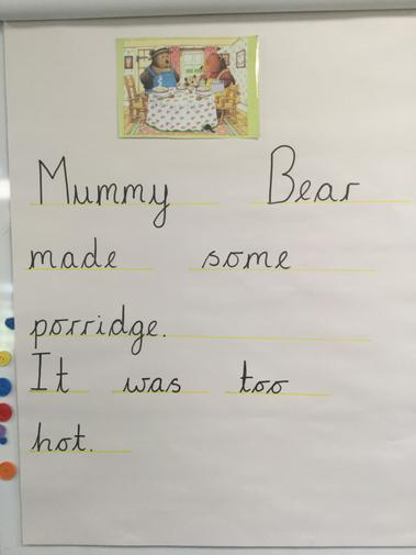 What super sentences. We clapped our sentences before drawing scaffolding lines.