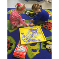 We worked together to complete Christmas puzzles