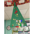 We cut out and decorated Christmas trees.