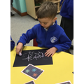 We used chalk to create firework pictures.