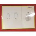 Harry's sketch of a penguin showing improvement step by step