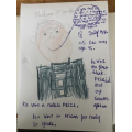 Jensen's fact file on Nelson Mandela with a fabulous picture he has drawn.