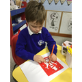 We used stencils to draw Christmas pictures