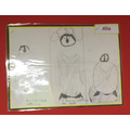 Alia's sketch of a penguin showing refinement of the features each time