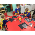 We explored using salt to make firework pictures