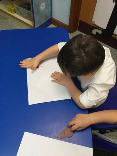 After collecting leaves we had a try at leaf rubbing!