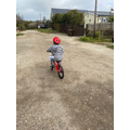 Henry has been out riding his bike