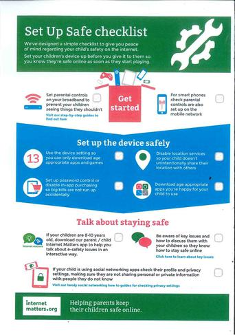 We sent out a checklist to help you (parents) improve your child's online safety.