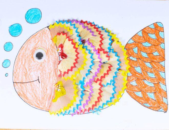 Fish Pencil Shavings Art