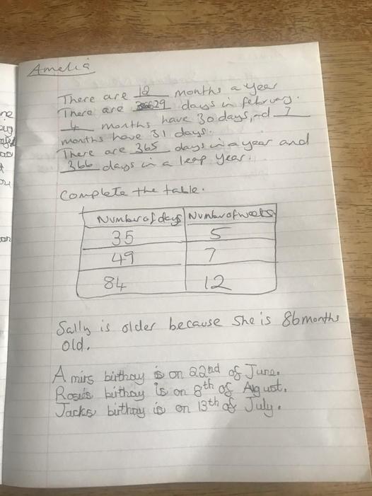 Ameilia's maths work
