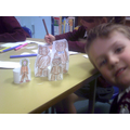 We made puppets to tell the story.