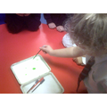 Then we started adding drops of food colouring.
