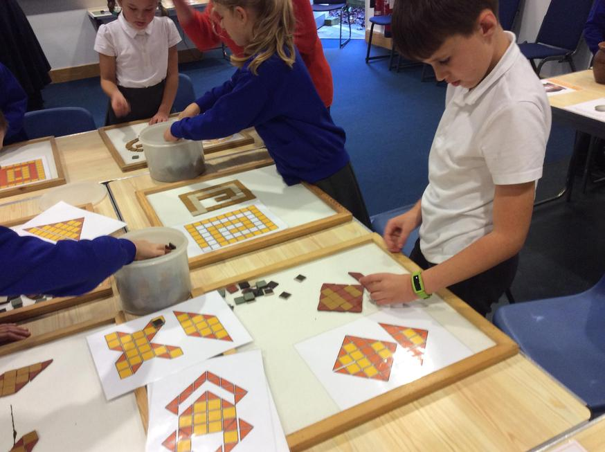 Mosaic making.