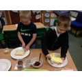 First we made sandwiches for the tea party.