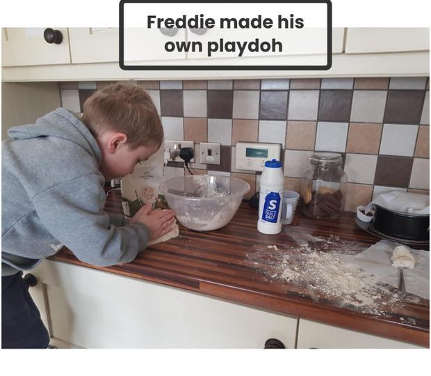 Freddie can make his own play dough.