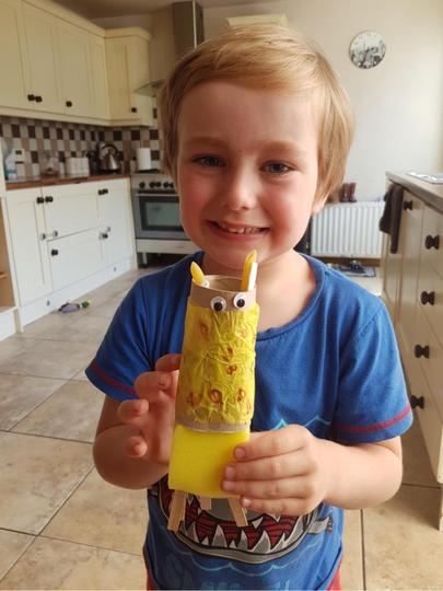 Freddie made a giraffe, his favourite zoo animal.