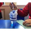 Blue food colouring and shaving foam