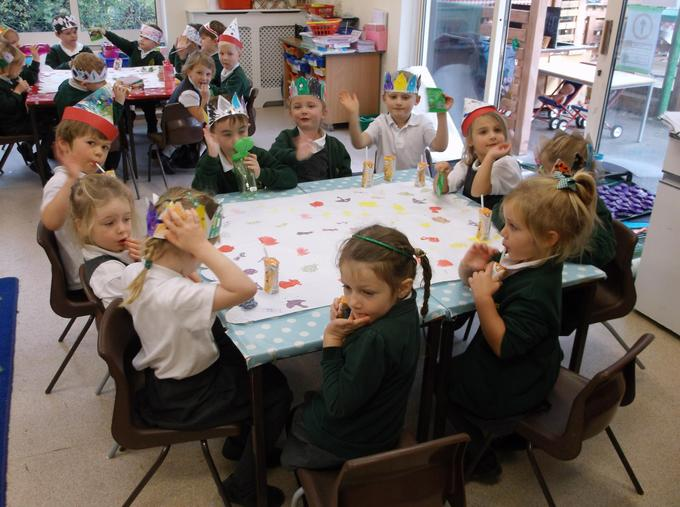 We printed our own table cloths, chose games to play and made party hats