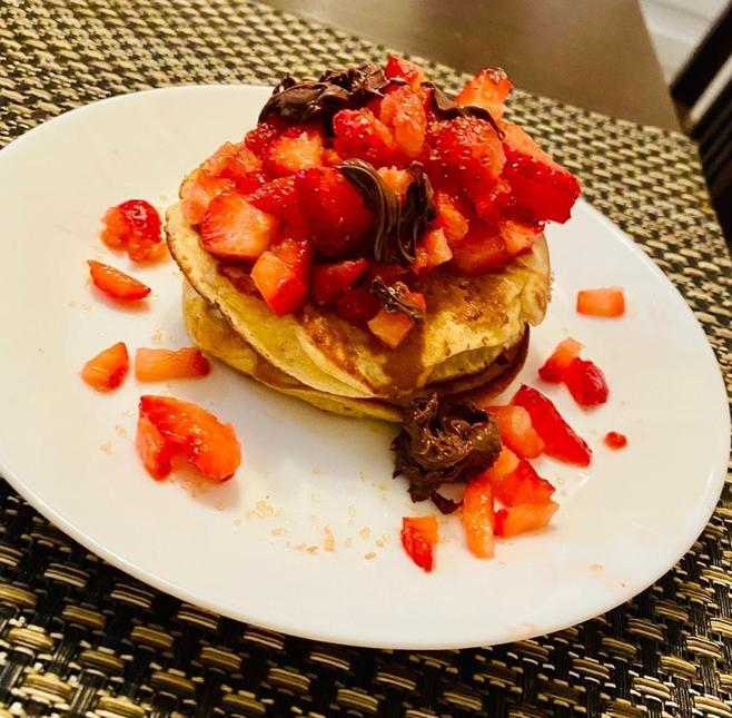 Jabir's pancakes with delicious toppings