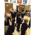 Dancing to 'Let's eat a rainbow!