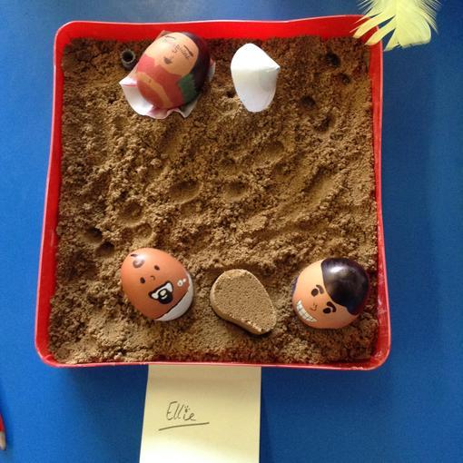 Ellie's eggs at the beach!