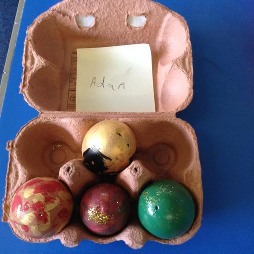 Adam's colourful eggs.