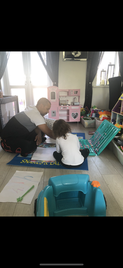 Chantae working hard with Dad.