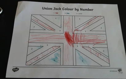 Nathan's colouring by numbers for VE Day.