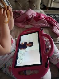 Kelsi doing online learning.