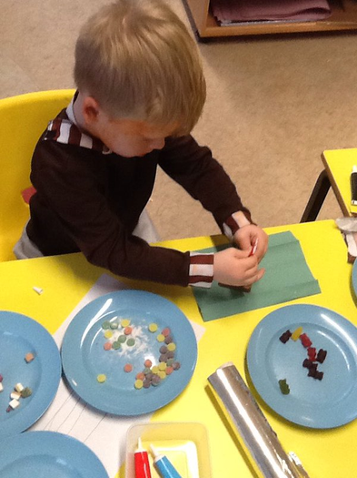 Reception busy making their own chocolate bars!