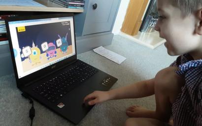 Nathan is playing phonics games.