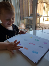 Kelsi learning her colours.
