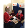 The cabin crew looked after their passangers