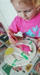 Isabelle has made salt dough footprints.
