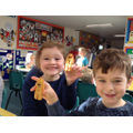 Year 1 and 2 making Pudsey ears and biscuits