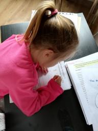 Caitlin hard at work.