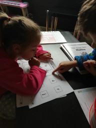 Caitlin doing her home learning.