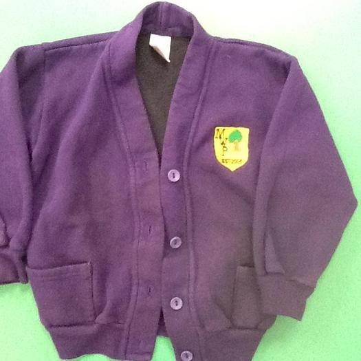 Purple Cardigan with School Logo