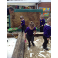 We are helping to get our construction area ready.