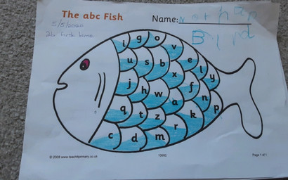Nathan could read all of the letters on the fish.