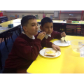 Year 5 enjoying their scrambled egg!