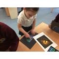Using pastels to create dragon eyes
