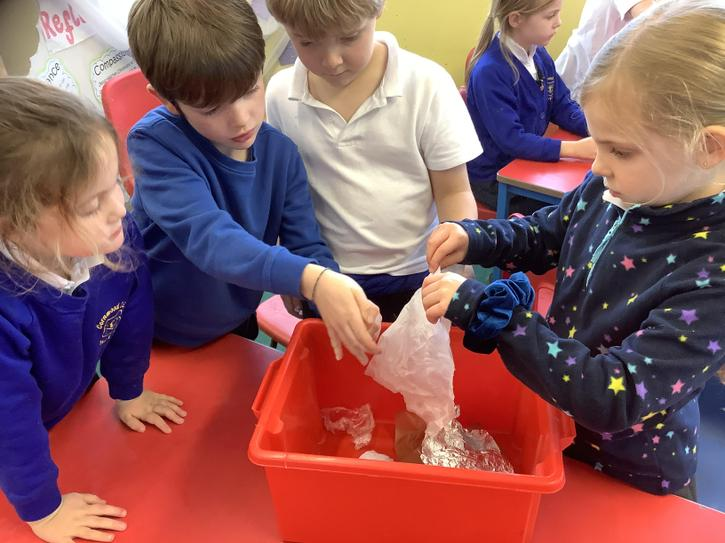 In Science, the children carried out an investigation to find out what material would be b