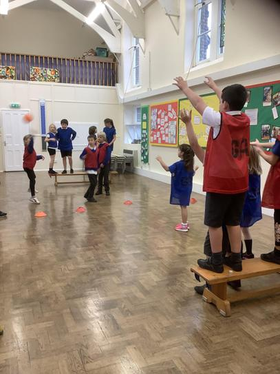 This week we have been inside learning the rules of Bench ball.